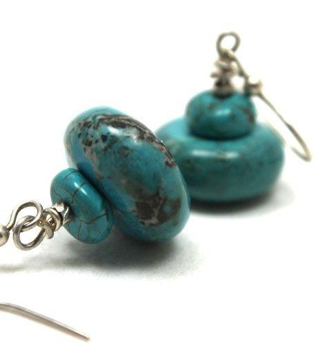 Turquoise Rondelle Disc Earrings handmade by AyaDesigns #ckdin