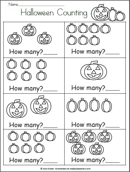Halloween Math Worksheet - How Many? | Kindergarten October ...