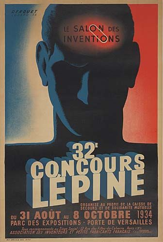 32ème concours Lépine - Le salon des inventeurs - Parc des expositions - Porte de Versailles - Paris - 1934 - illustration de Edgard Derouet - France -