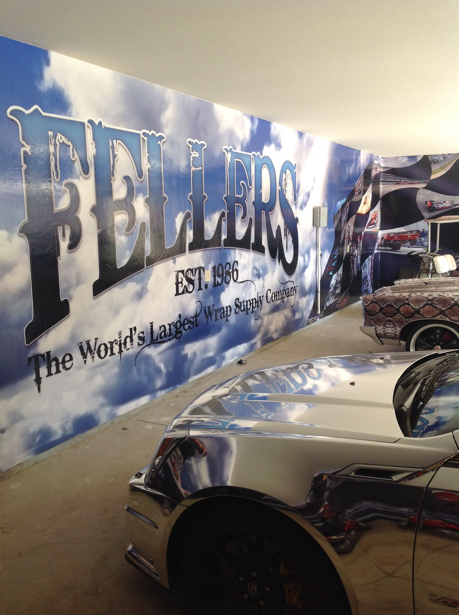 Fellers Garage Wall Wrapped With Custom Print On Avery