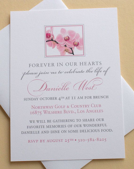 Memorial Invitation with Pink Orchids - Personalized - FLAT Cards ...