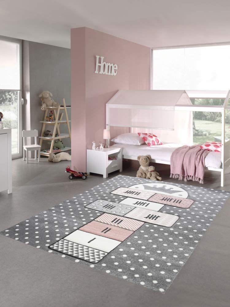 Merinos Kinderteppich Hupfspiel Teppich Hupfkastchen In Grau Rosa Creme Kinderteppiche Teppich Kinder Zimmer