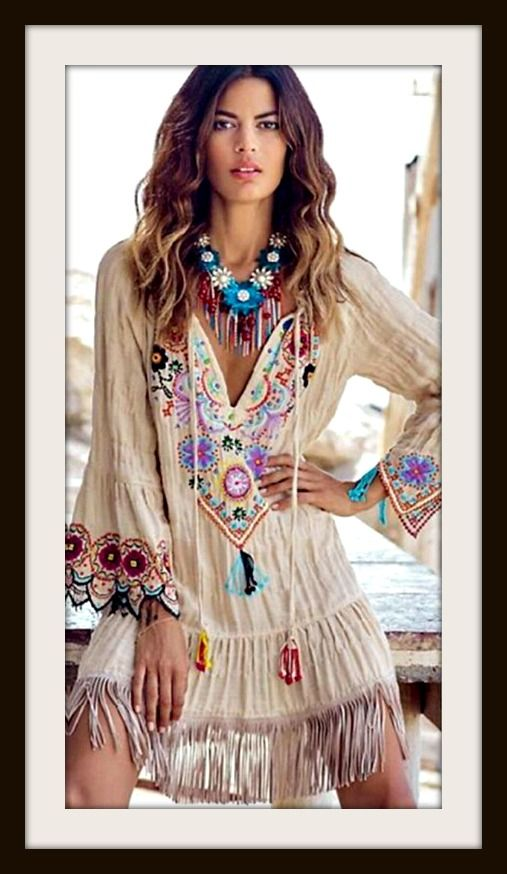 Cowgirl Gypsy Dress Floral Print Embroidered Sleeves