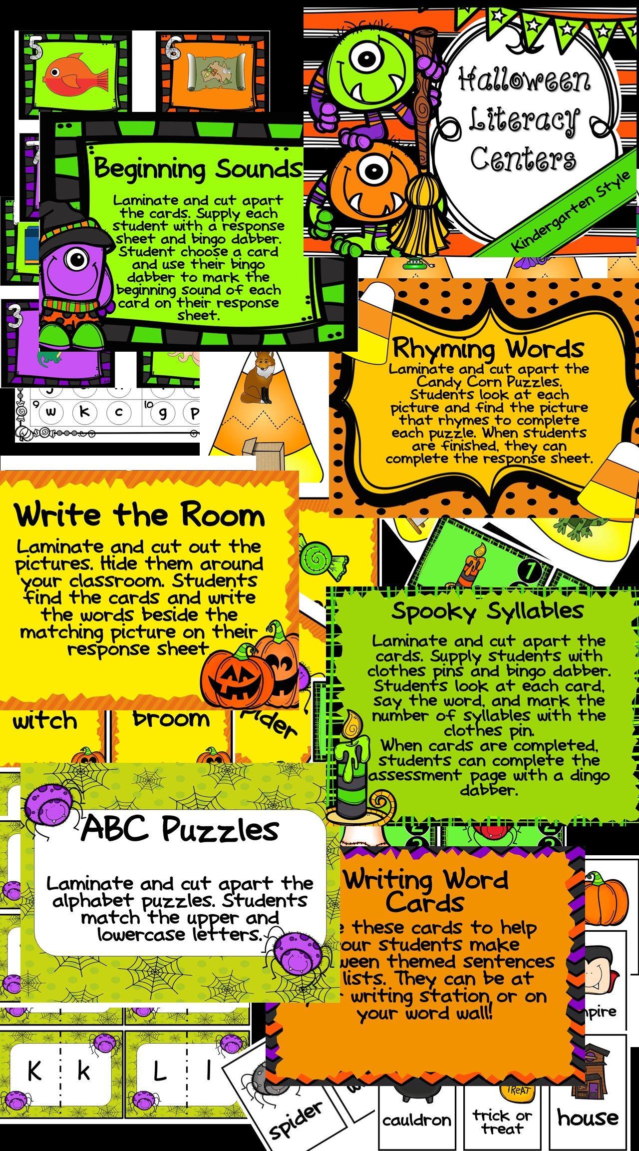 Kindergarten Halloween Literacy Centers- 7 October Reading Centers ...