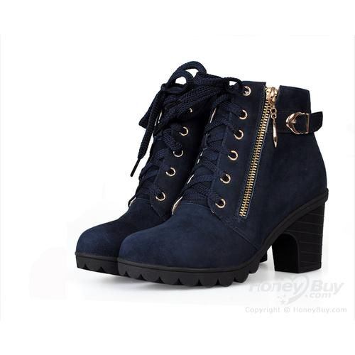 Lace Up Mid Heel Ankle Boots