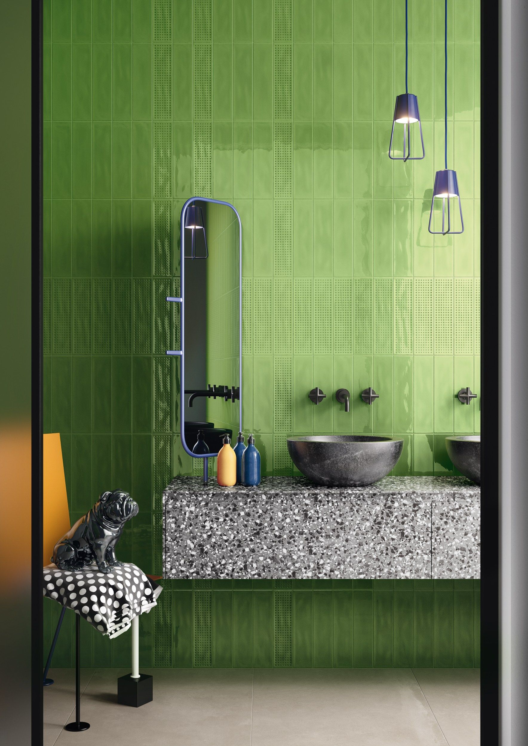 Slash By Ceramica D Imola Double Fired Ceramic Wall Tiles Green