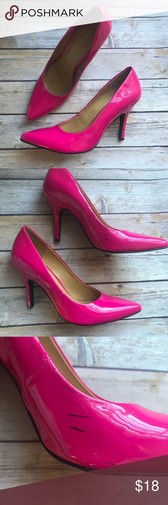 8701d4cc2 Nine West hot pink shiny pointed toe pumps Some scuffs and peeling, as  shown in picture, but in good wearable condition otherwise. No box. Nine  West Shoes ...