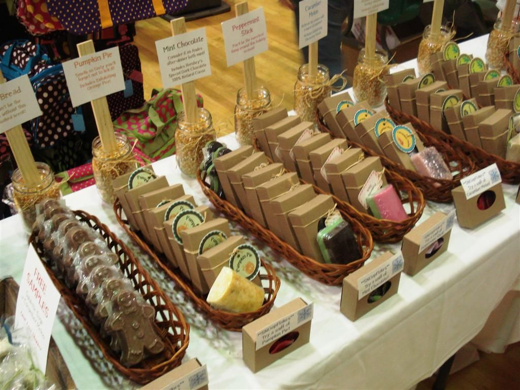 Cute way to organize and make price labels! Soap display