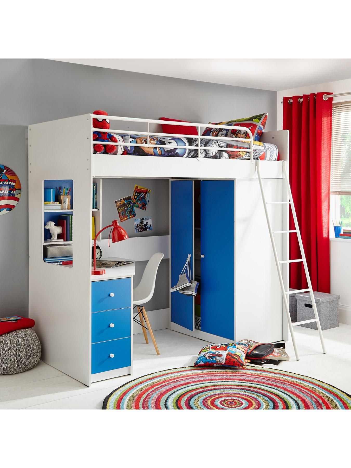 Austin High Sleeper Bed with Desk 3 Drawers Wardrobe and Shelves