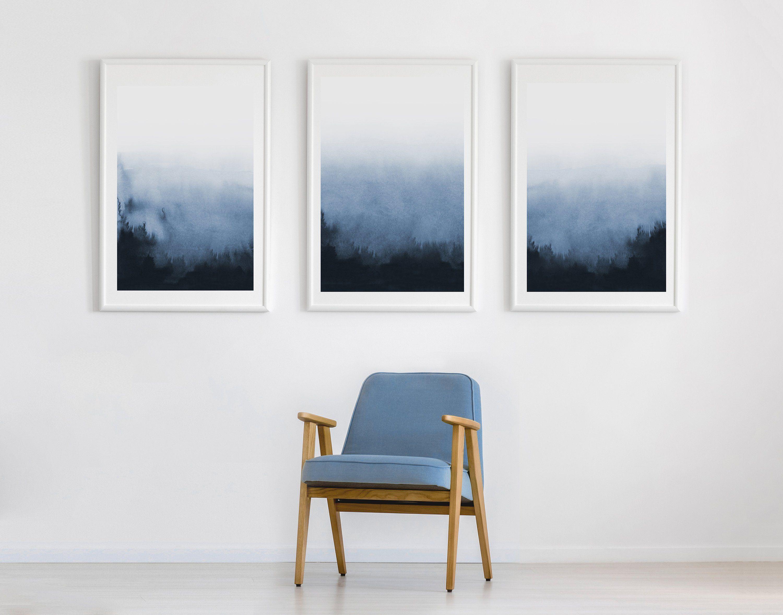 Set Of 3 Prints Printable Art Abstract Print Three Etsy Blue Wall Living Room