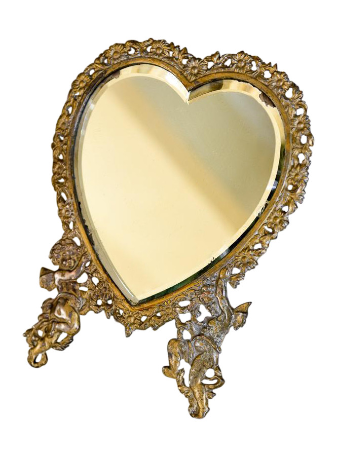 Beautiful Victorian Heart Shaped Easel Mirror Painted Gilt Over Cast Iron It Has Two Large Cherubs As The Feet And Heart Mirror Victorian Mirror Mirror Table