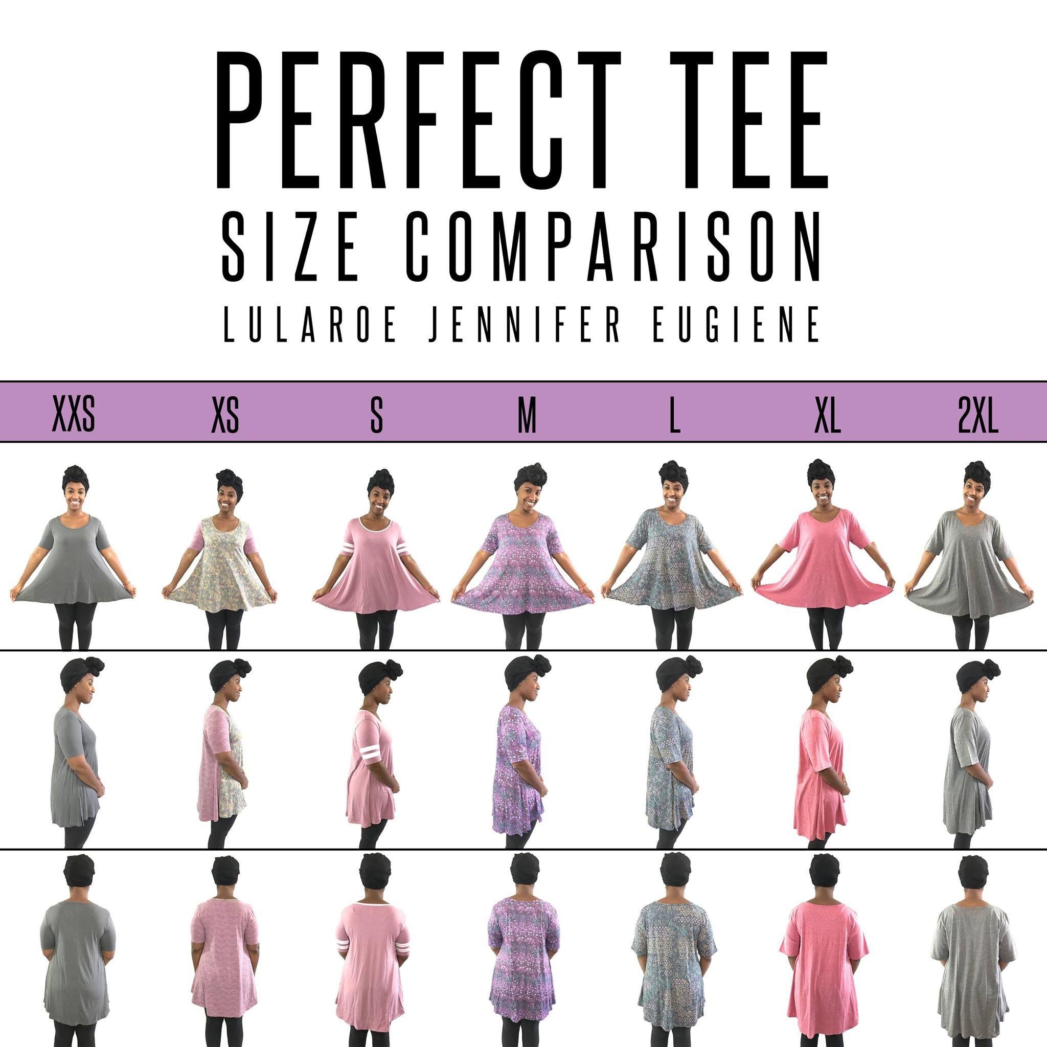 9d61c09c937 LuLaRoe Perfect Tee size comparison XXS-2XL. I m 5 3 and wear a XS Perfect!   lularoejennifereugiene  LuLaRoePerfectTee