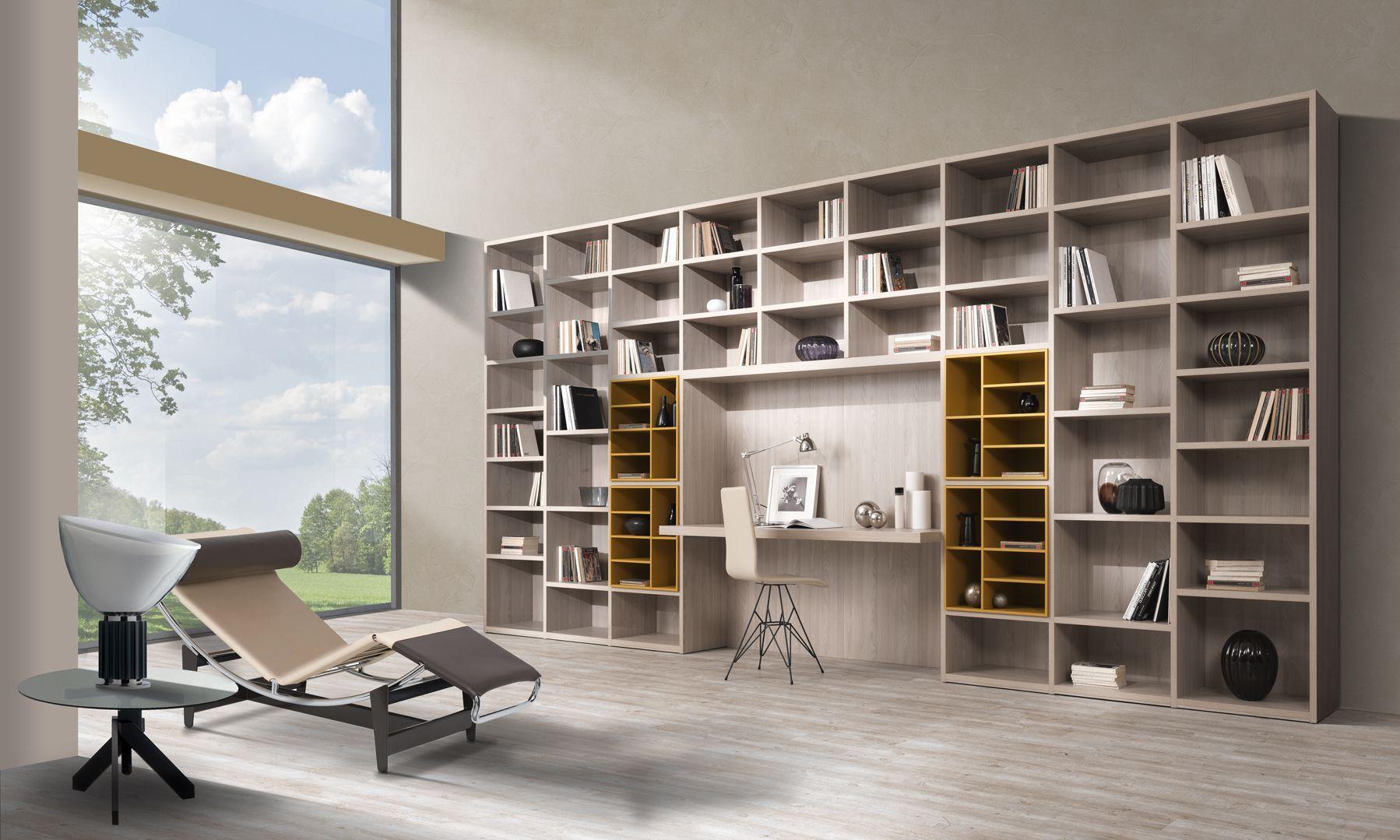 Libreria a muro in legno librari pinterest legno soggiorni e scrivania - Libreria a ponte ikea ...