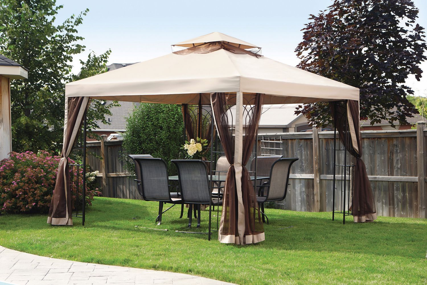 gazebo walmart umbrella on sets dining furniture small patio table outdoor gazebos waterproof best