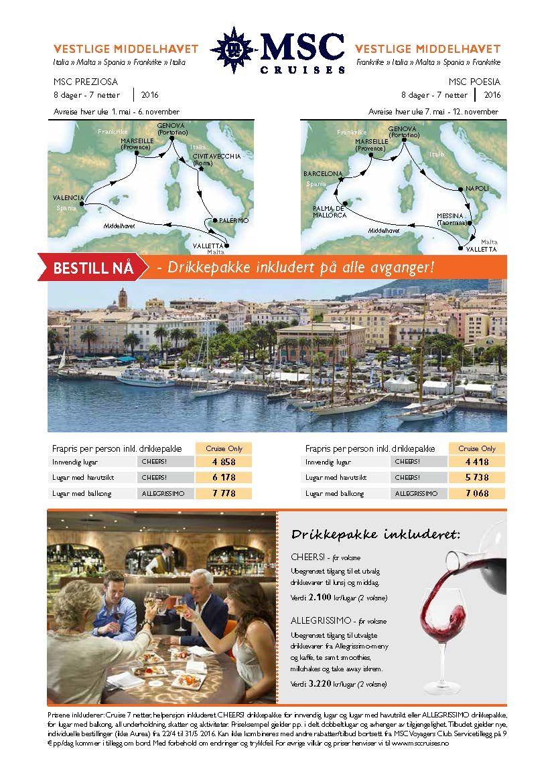 Tilbud MSC cruises i middelhavet