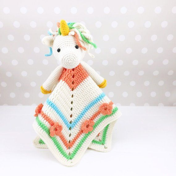 Unicorn Lovey Pattern, Security Blanket, Crochet Unicorn, PDF ...