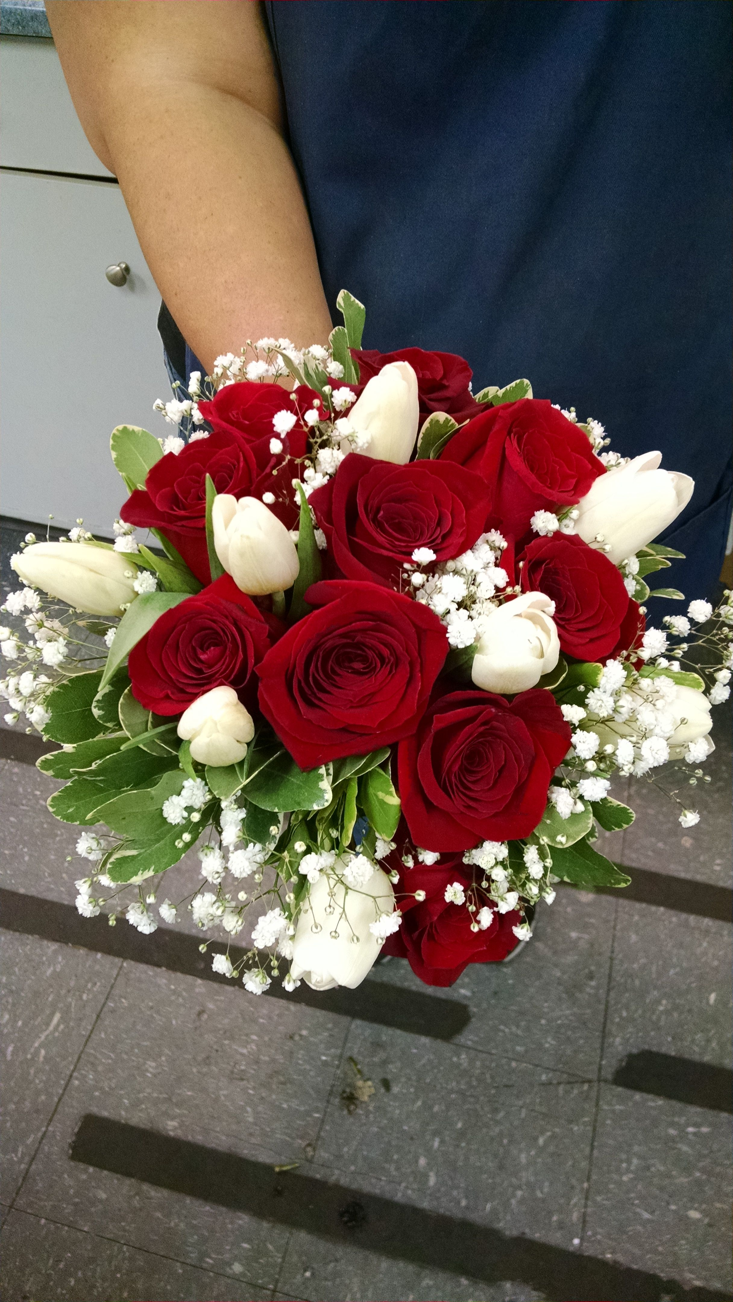 Red Roses, White Tulips, Babies Breath and Pitosporum