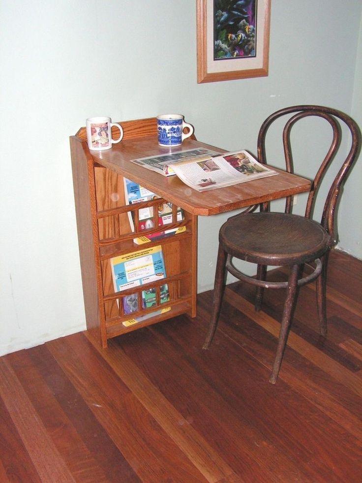 Desk For Rvs | Fold Out End Table,desk U0026 Magazine Rack,(oak