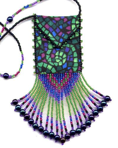 finished beaded stained glass amulet bag by also