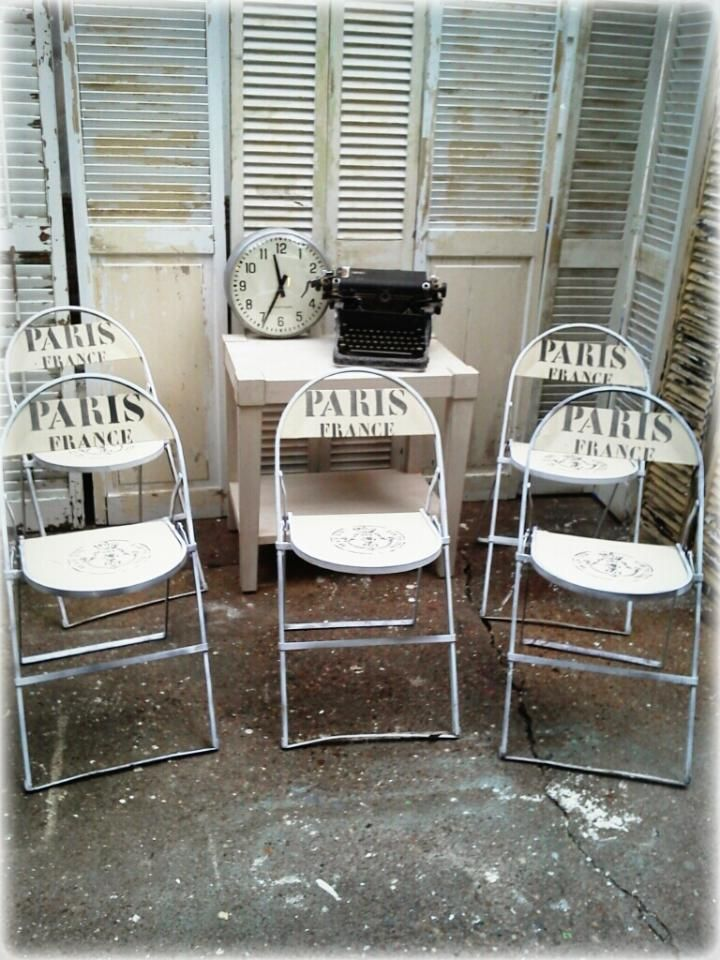 Repurposed metal and wood folding chairs painted with for Repurposed metal furniture