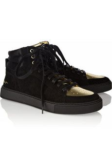 Yves Saint Laurent | Malibu suede and metallic leather sneakers | NET-A-PORTER.COM $595.00