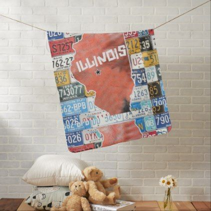 Illinois State Of USA W License Plate Swaddle Blanket