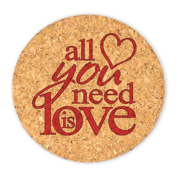 Wedding Cork Coaster: Wedding Favor Coasters, All You Need Is Love Round Cork