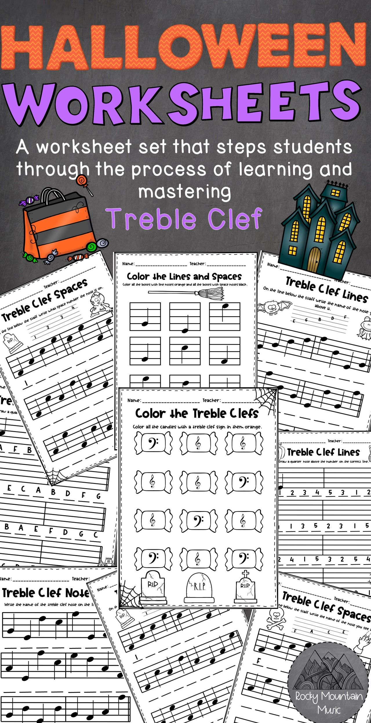 Halloween Themed Treble Clef Worksheets In