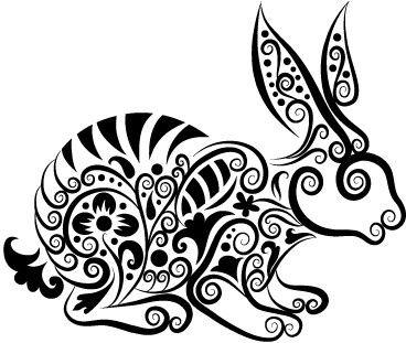 hand drawn rabbit decoration pattern vector
