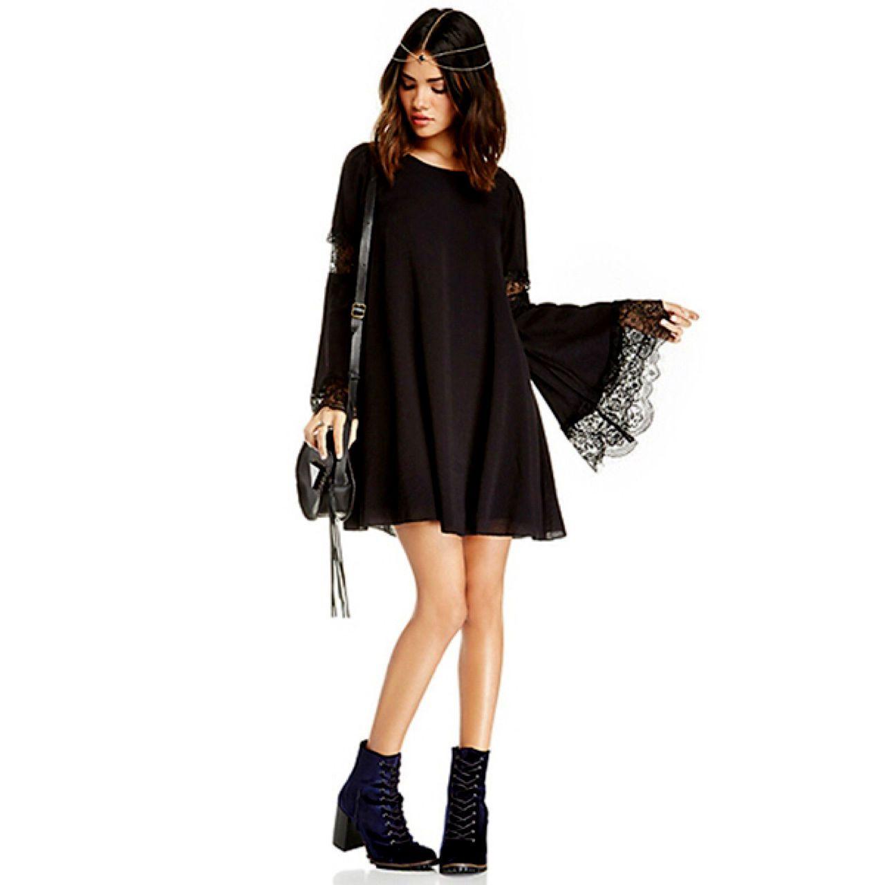 Isabella Black Lace Bell Sleeve Mini Dress Boho People Bohemian Free Hippie 30 0 Black Dress With Sleeves Lacy Black Dress Mini Dress [ 1280 x 1280 Pixel ]