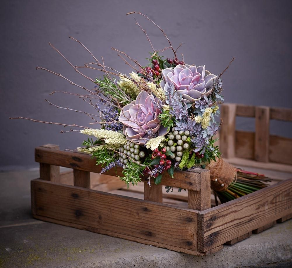 Succulent in purple Wedding flowers florist, Wedding