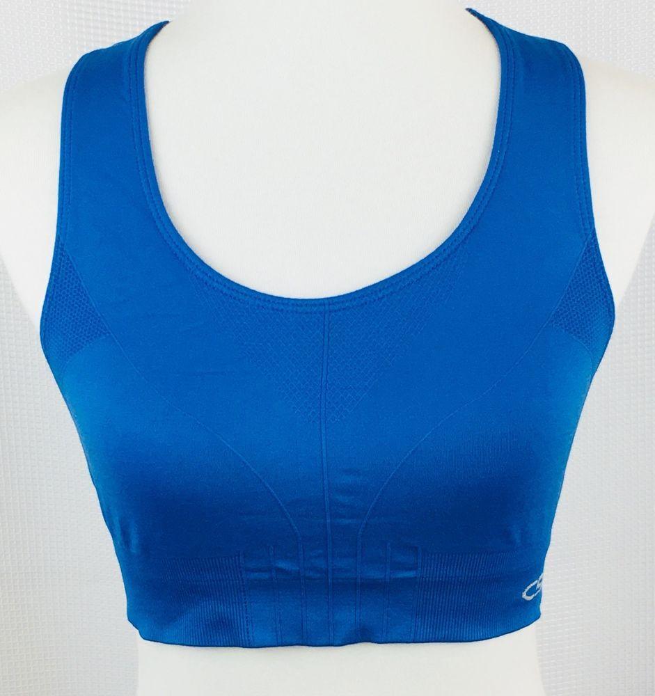 Champion Sports Bra Large Racerback Blue Workout Run Yoga