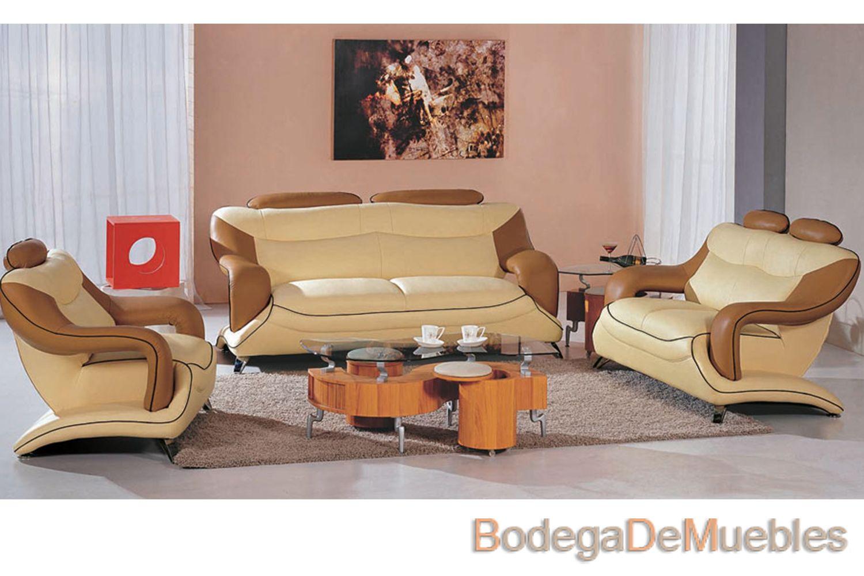 Sala de piel color beige y cafe 1500 1000 for Comedores de piel