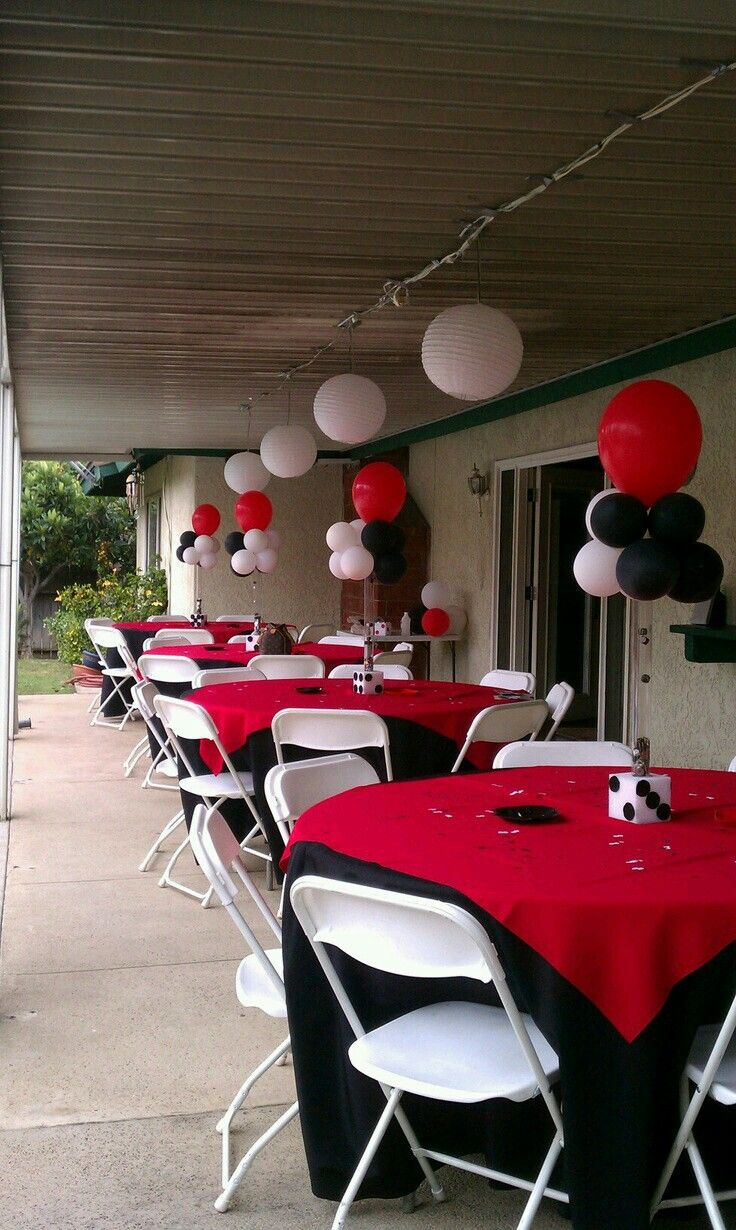 Red And Black Party Casino Party Decorations Casino Party