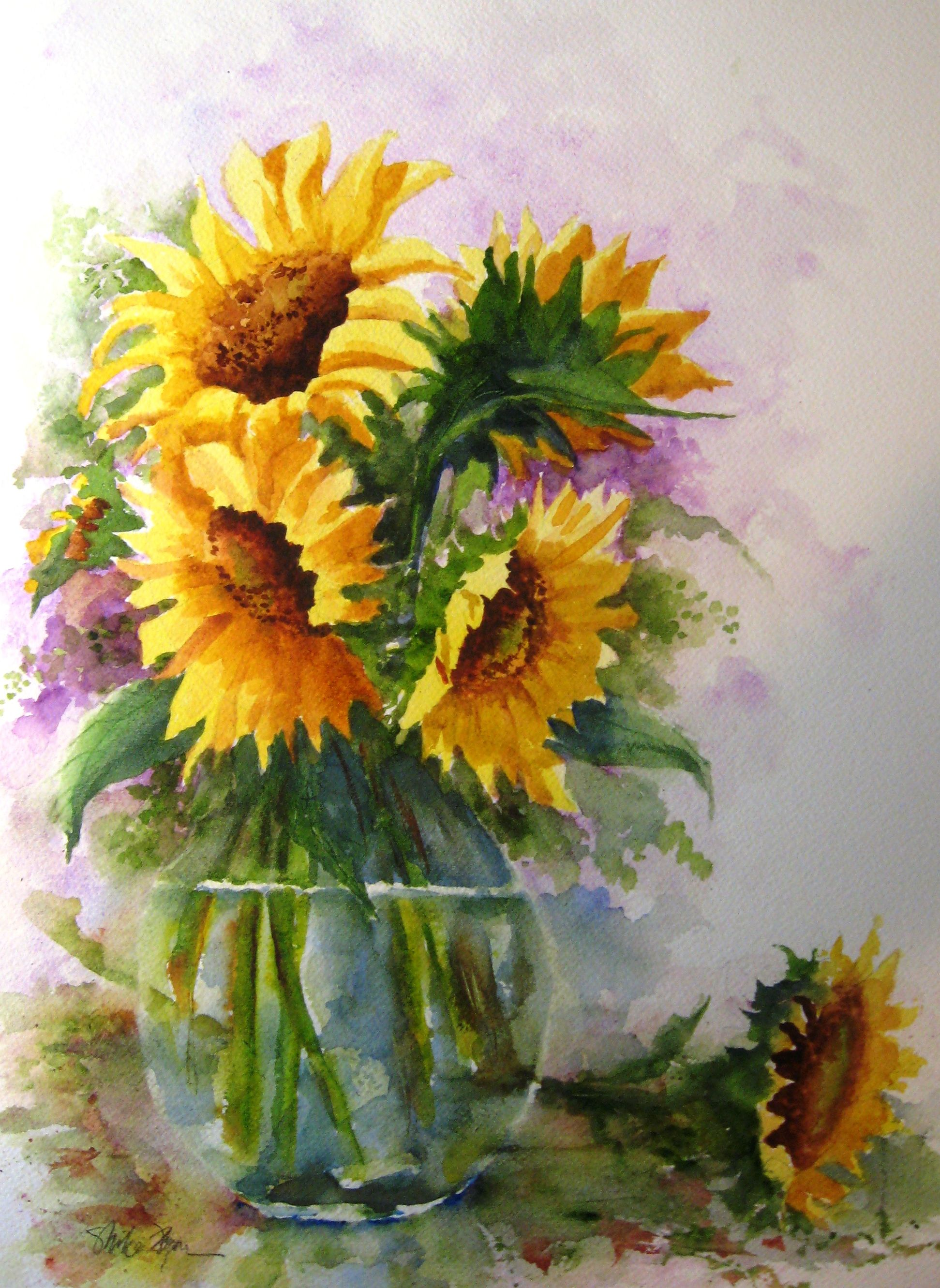 Watercolor paintings of flowers summertime mike flynn for Flower paintings on canvas