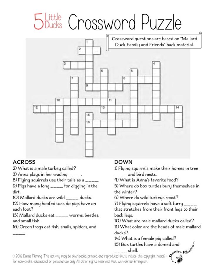 5 Little Ducks Activities At Www Denisefleming Com Crossword Puzzle Little Duck Duck Crossword Puzzle