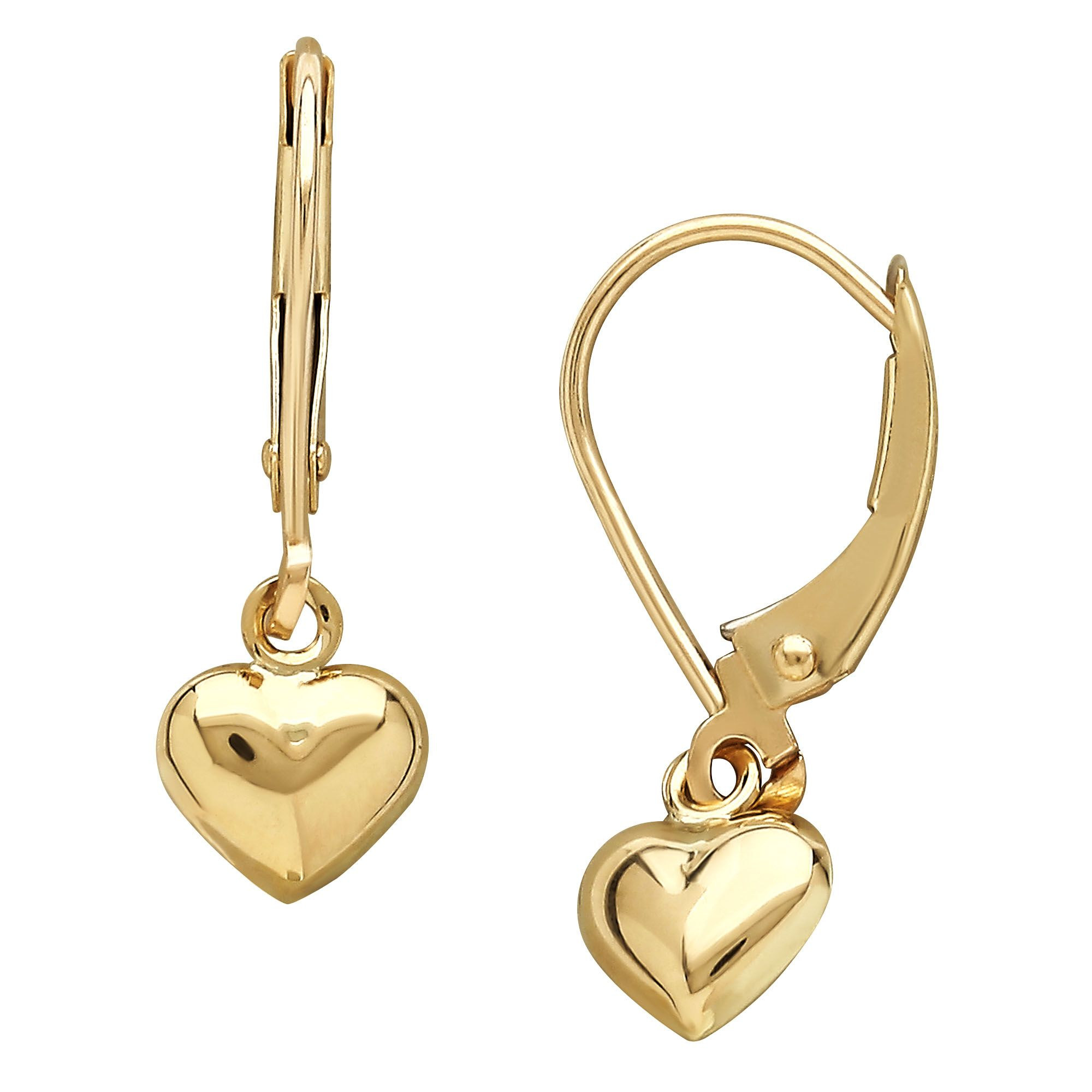 10 Karat Yellow Gold Baby Lever Small Heart Drop Earrings Infant Unisex Heart Drop Earrings Baby Earrings Small Heart