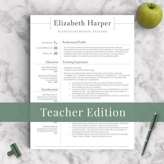 Teacher Resume Template for Word \u0026 Pages 2 and 3 Page Resumes Included) + Resume Writing Guide