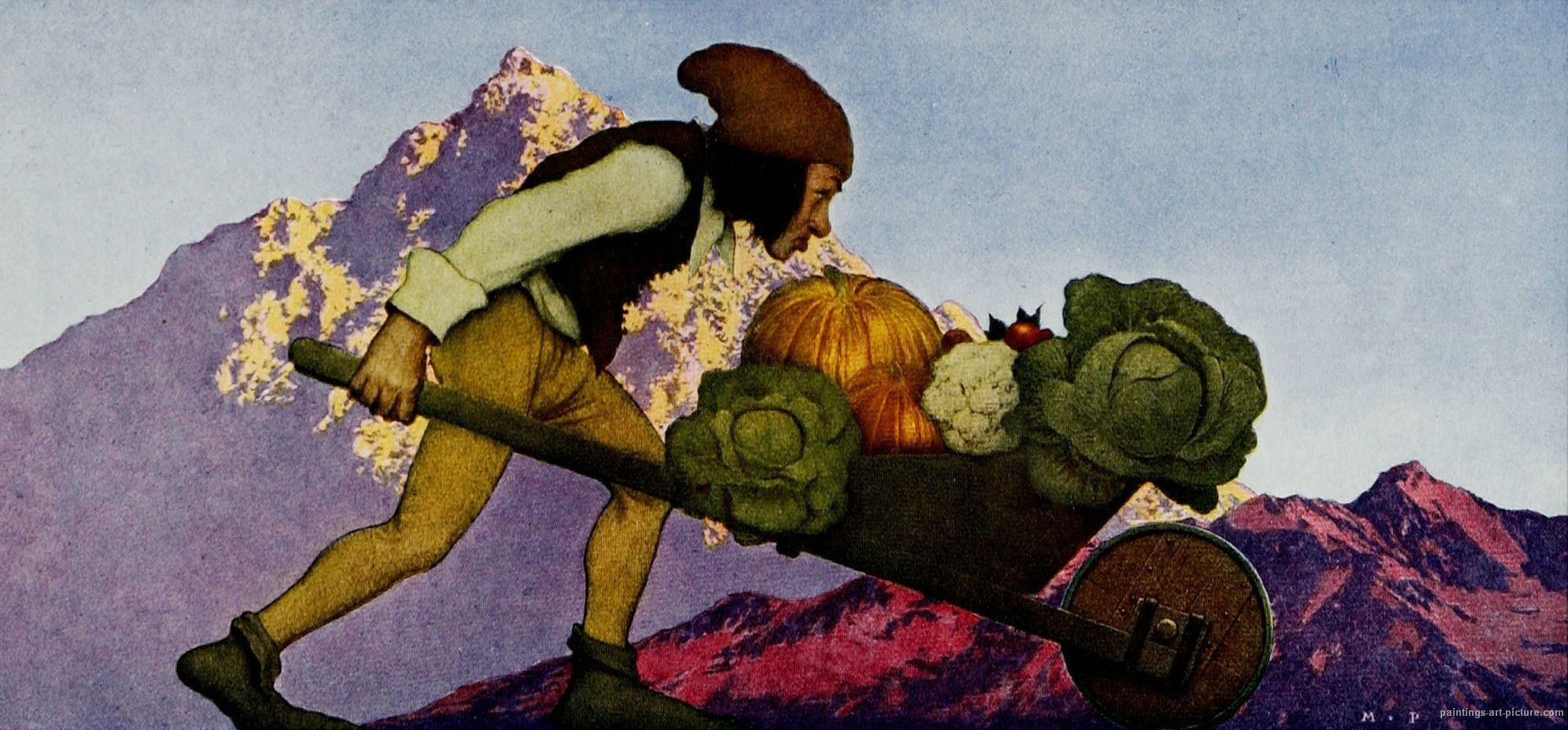 Maxfield Parrish Art Gallery | The Gardener Wheeling Vegetables from Knave of Hearts, 1925.jpg