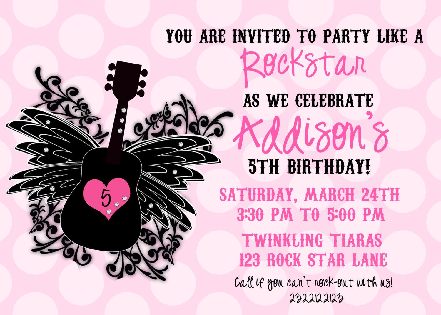 Rock Star Girl Birthday Invitation, RockStar Girl Personalized ...