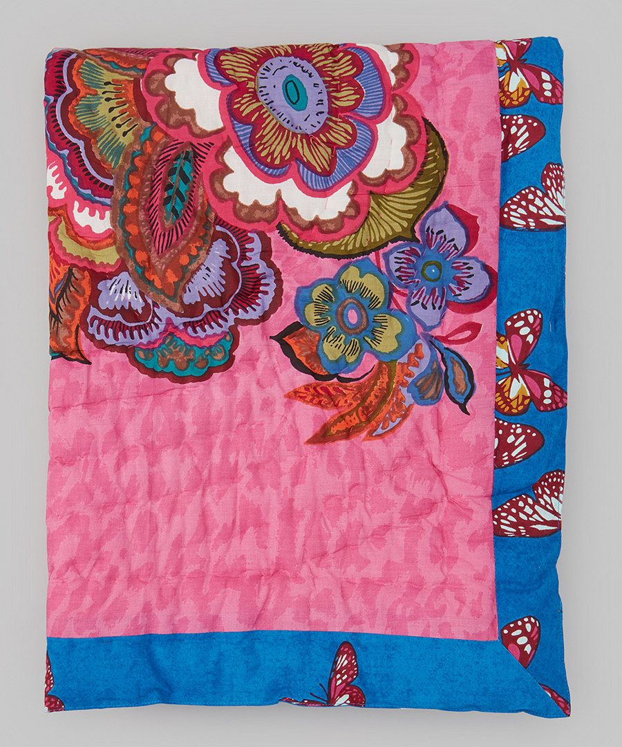 Look at this uu x uu pink u blue floral quilt on zulily today