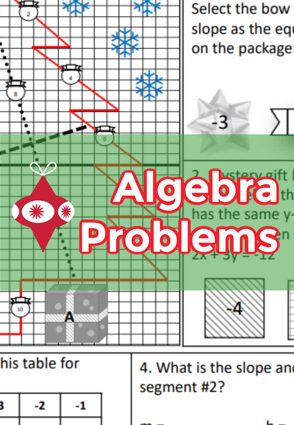 Algebra Christmas Worksheet