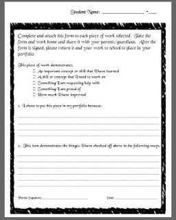 Portfolio Self-Assessment Form (Free Download) from a Middle School ...