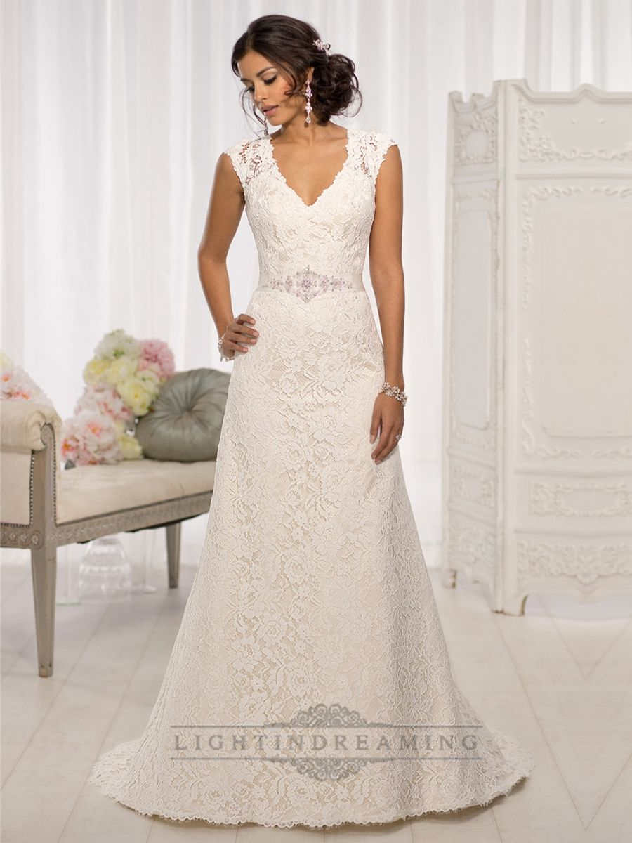 Lace cap sleeve a line wedding dress  Elegant Cap Sleeves Vneck Aline Wedding Dresses with Illusion Back