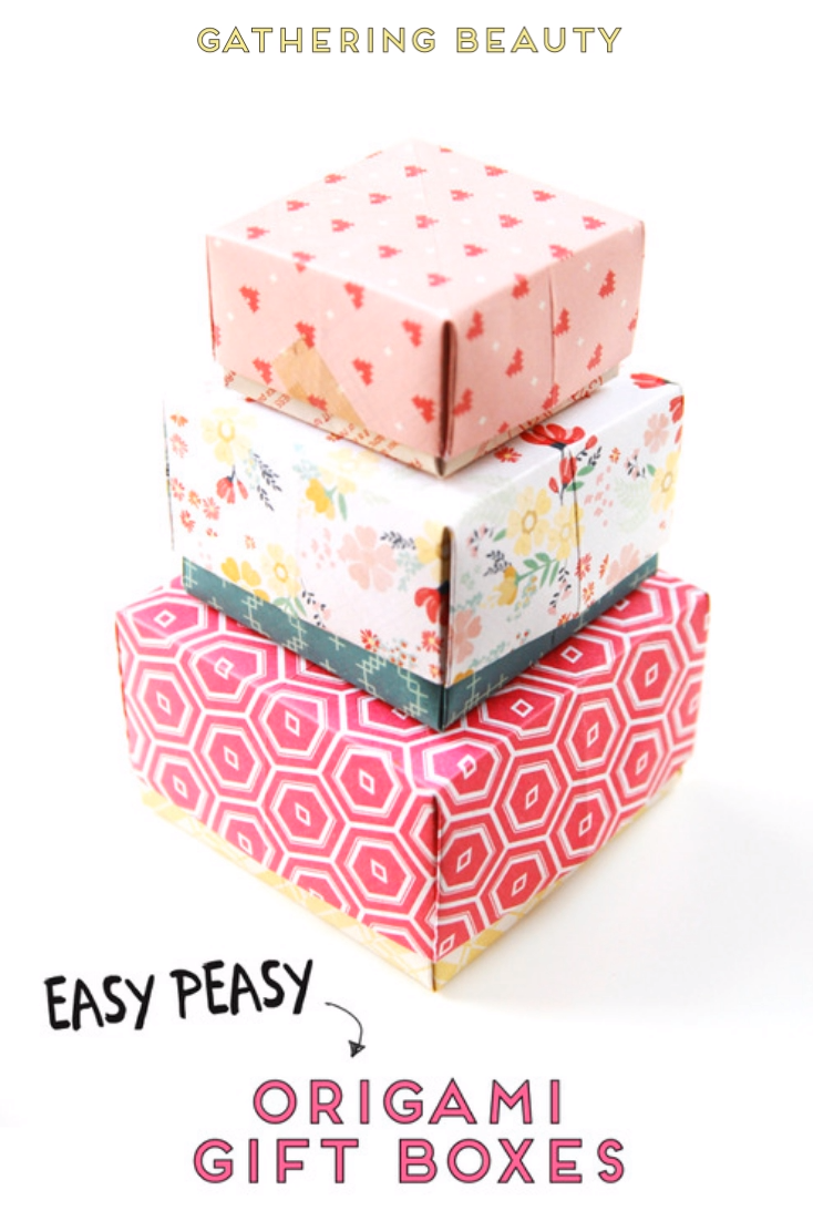 AN EASY PEASY ORIGAMI GIFT BOX is part of Origami gifts, Origami gift box, Diy origami, Easy diy gifts, Diy gift box, Origami box tutorial - Want to know how to make an easy origami box  Then look no further  You can make these beautiful origami gift boxes with lids in minutes  Perfect for any lastminute gift giving occasions
