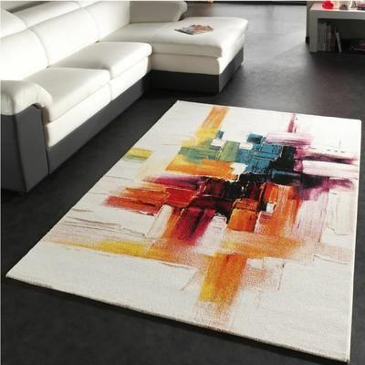 BELIS Tapis de salon contemporain 80x150 cm blanc, orange et vert - Achat / Vente tapis 100% polypropylène - Cdiscount