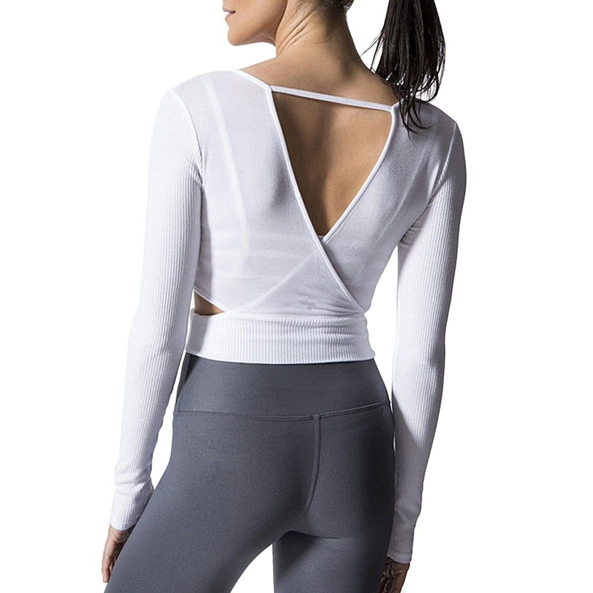 Women's Activewear Tops - Backless Hollow Long Sleeve Yoga Shirts - White -  C818DZNG62A Size Tag S(US 0-2) | Active wear tops, Womens activewear tops, Womens  activewear
