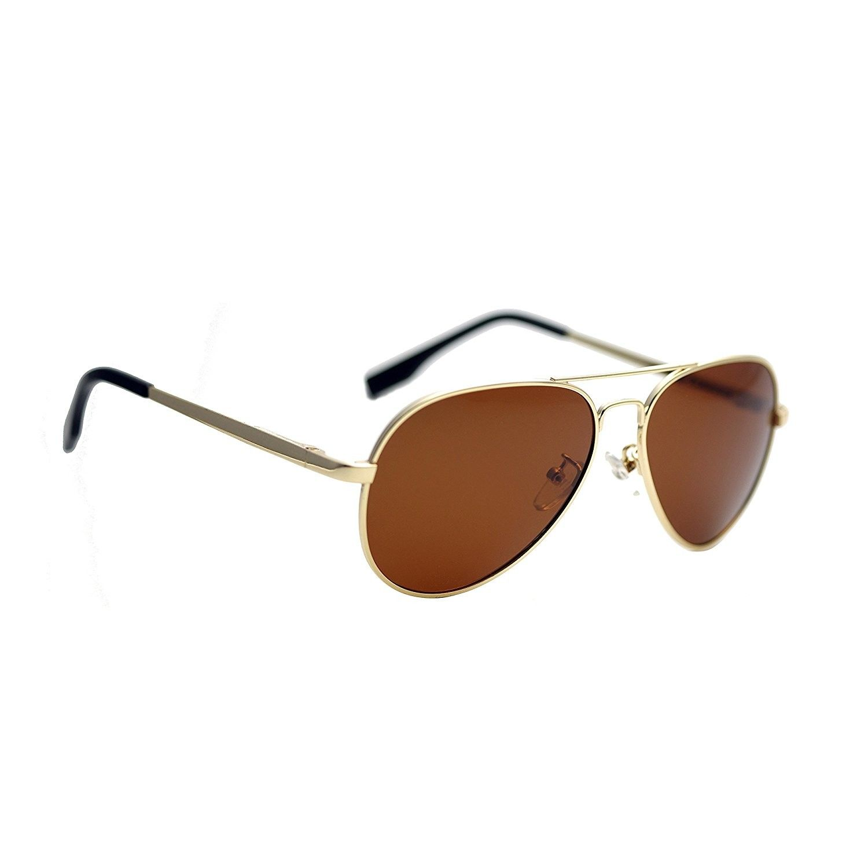 481f99c707 Small Polarized Spring Hinges Metal Aviator Sunglasses for Men Women UV400  52mm - Gold Frame Brown Lens - CZ12KW8QIG1 - Men s Sunglasses