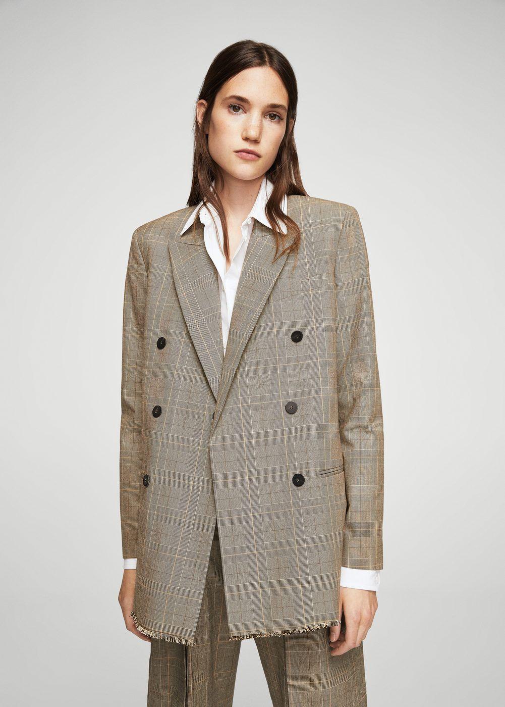 Check structured blazer - Woman | MANGO Denmark
