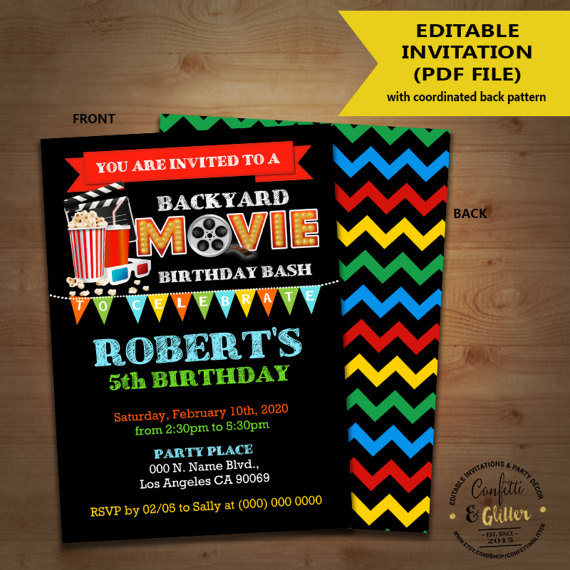 Movie backyard birthday bash invitation outdoor movie party Kids